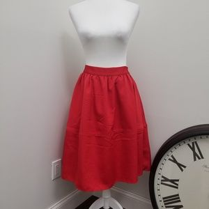 Express Midi Red Taffeta full skirt - lined